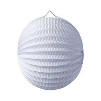 Lampion boule de 20 cm, Papier accordéon Blanc, à suspendre
