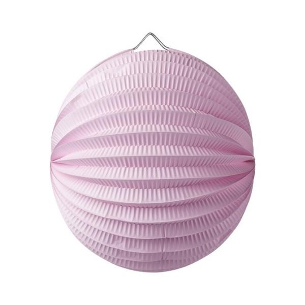 Lampion boule de 20 cm, Papier accordéon Rose clair, à suspendre - Photo n°1