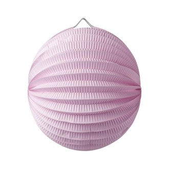 Lampion boule de 20 cm, Papier accordéon Rose clair, à suspendre