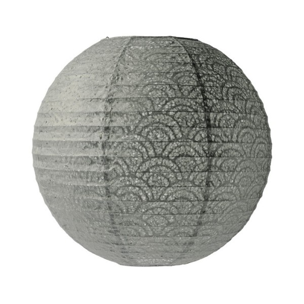 Lanterne Japonaise, Lampion boule Gris Souris Papier perforé dentelle, de 35 cm - Photo n°1