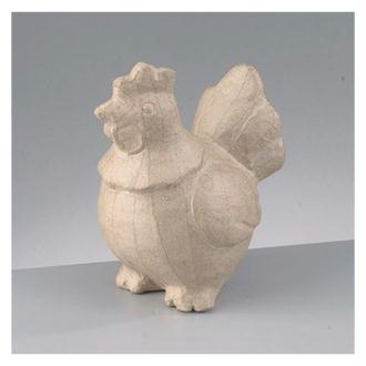Grande Poule assise en papier mâché, 14,5 x 10 x 18 cm, à décorer
