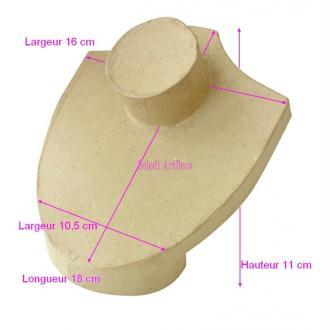 Buste unisexe court en carton pour présentoir Bijoux Collier, 16x18x11cm, à customiser
