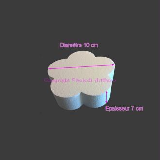 Petit Socle plat Fleur 2D en polystyrène blanc, Support Diamètre 10cm x Epais. 7cm, 28