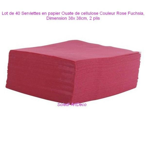 Lot de 40 Serviettes en papier Ouate de cellulose Couleur Rose Fuchsia, 38x 38cm, 2 plis - Photo n°1