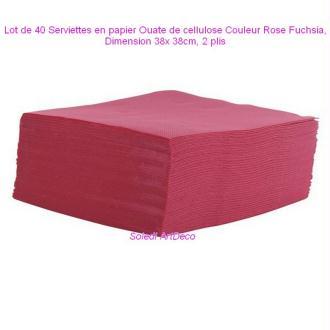 Lot de 40 Serviettes en papier Ouate de cellulose Couleur Rose Fuchsia, 38x 38cm, 2 plis