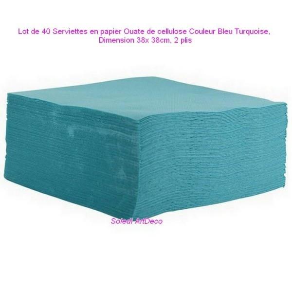 Lot de 40 Serviettes en papier Ouate de cellulose Couleur Bleu Turquoise, 38x 38cm, 2 plis - Photo n°1