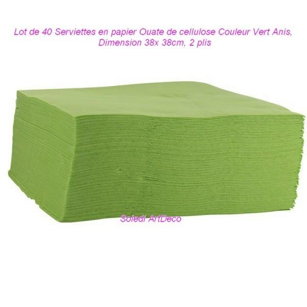Lot de 40 Serviettes en papier Ouate de cellulose Couleur Vert Anis, 38x 38cm, 2 plis - Photo n°1