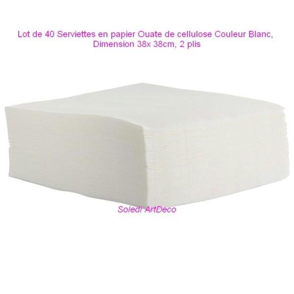 Lot de 40 Serviettes en papier Ouate de cellulose Couleur Blanc, 38x 38cm, 2 plis - Photo n°1
