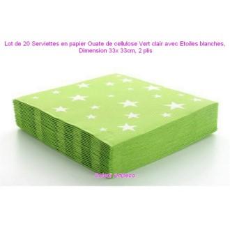 Lot de 20 Serviettes en papier Ouate de cellulose Vert clair avec Etoiles blanches, 33x 33cm, 2 plis