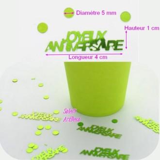 Paillettes Joyeux Anniversaire Vert Anis à éparpiller, Long. 5mm et 4cm, Sachet Confettis de 18g