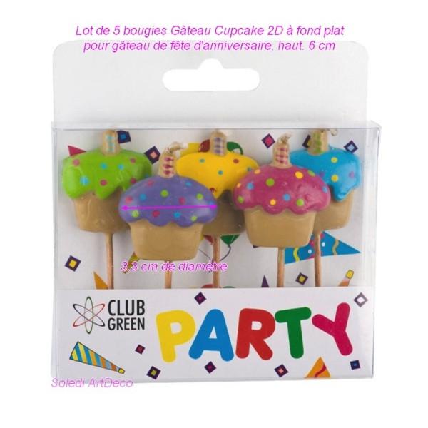 Lot De 5 Bougies Gateau Cupcake 2d à Fond Plat Pour Gâteau De Fête D Anniversaire Haut 6 Cm