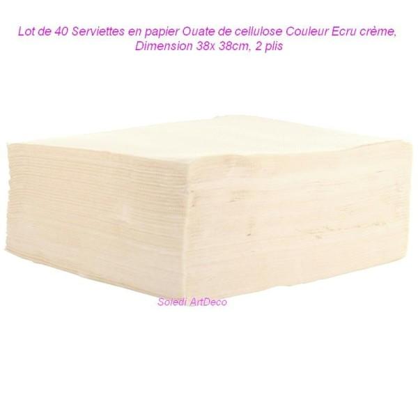 Lot de 40 Serviettes en papier Ouate de cellulose Couleur Ecru crème, 38x 38cm, 2 plis - Photo n°1