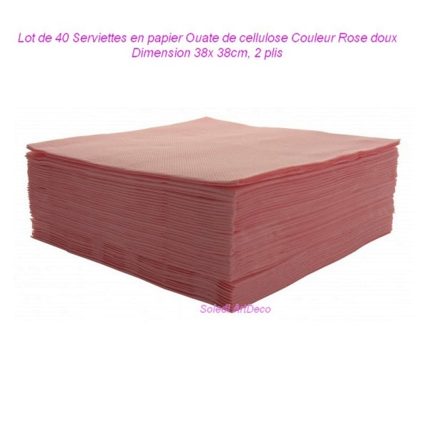 Lot de 40 Serviettes en papier Ouate de cellulose Couleur Rose doux, 38x 38cm, 2 plis - Photo n°1