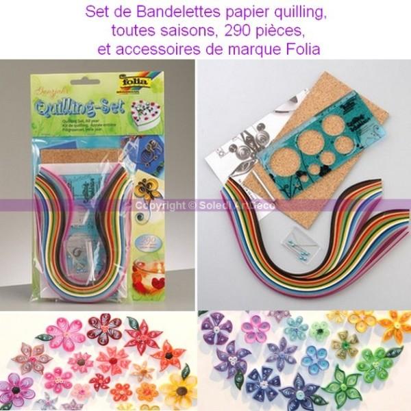 Set de Bandelettes papier quilling, 290 pièces, et accessoires - Photo n°2