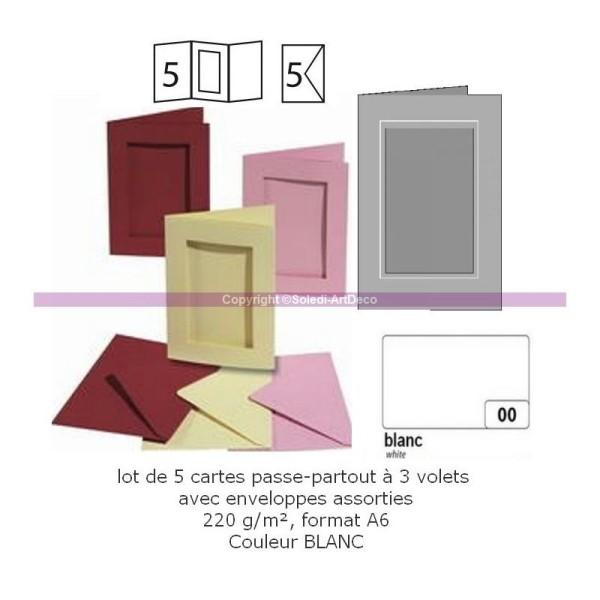 Lot 5 Cartes passe-partout rectangle à 3 volets, avec enveloppes, Format A6 - Photo n°1