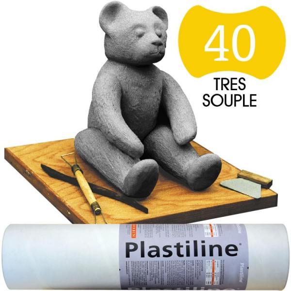 Plastiline Pâte à modeler de précision  1 kg  dureté 40 Gris - Photo n°1