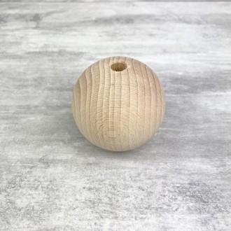 Grande Boule percée en bois de hêtre, diamètre 70 mm, perçage 10 mm