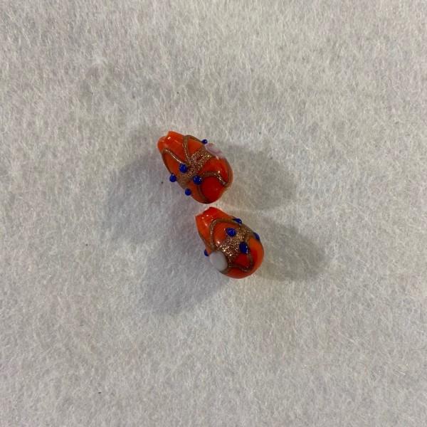 Perle a relief orange bleu et pailleté - Photo n°1