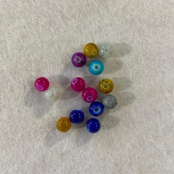 Douze perles multicolore effet marbre. - Photo n°1