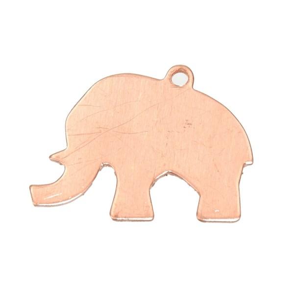 Lot de 10 Pendentifs en cuivre éléphant, 1 trou, ébauche 35 x 25 mm, pour émaillage - Photo n°1