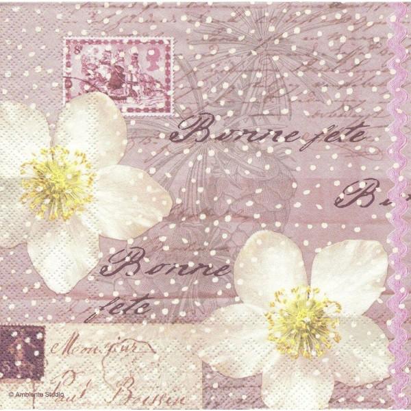 4 Serviettes en papier Fleur de Noël Hellébores Format Lunch Decoupage 13307535 Ambiente - Photo n°1