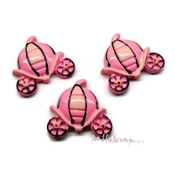 Cabochons carrosses résine rose - 3 pièces - Photo n°1
