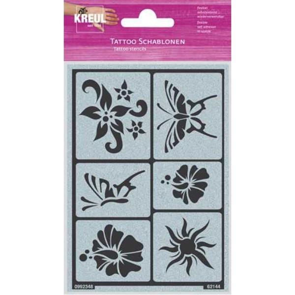 Pochoir de tatouage soleil, fleurs & papillons - Photo n°1