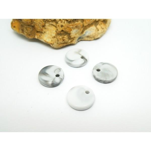 10 Sequins ronds 10mm en acétate effet marbre blanc et noir - Photo n°1