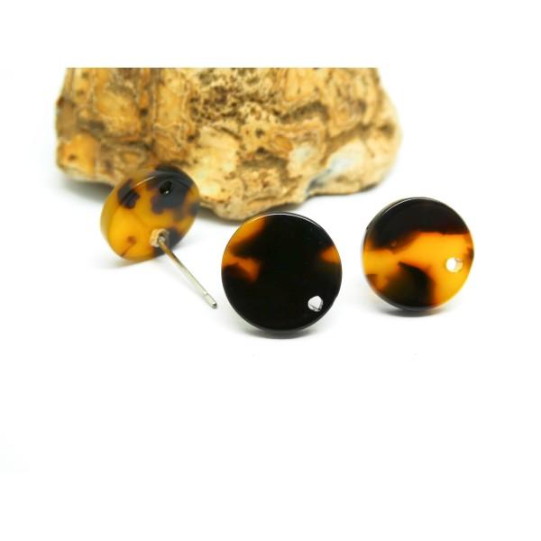 2 Paires boucles d'oreilles puce rond 12mm acétate de cellulose marron - Photo n°1