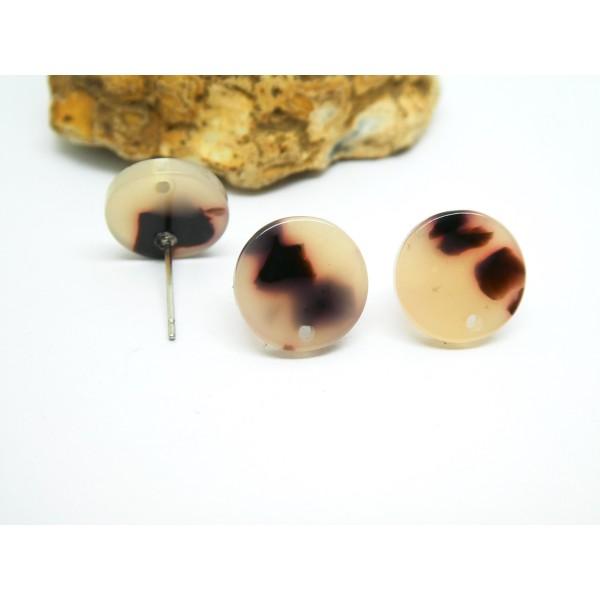 2 Paires boucles d'oreilles puce rond 12mm acétate de cellulose beige - Photo n°1