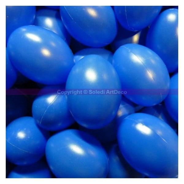 Lot de 10 Oeufs de Pâques, plastique Bleu brillant, hauteur 6cm - Photo n°1