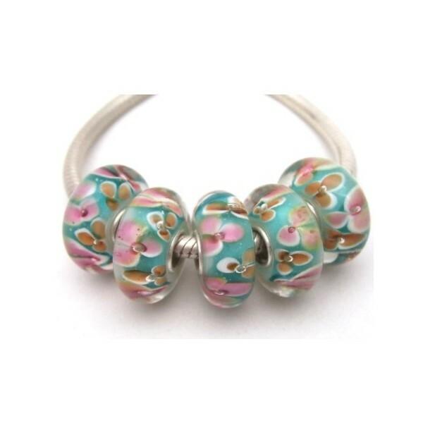 1 perle européenne verre de Murano 8 x 15 mm argent FLEUR ROSE ORANGE FOND BLEU - Photo n°1