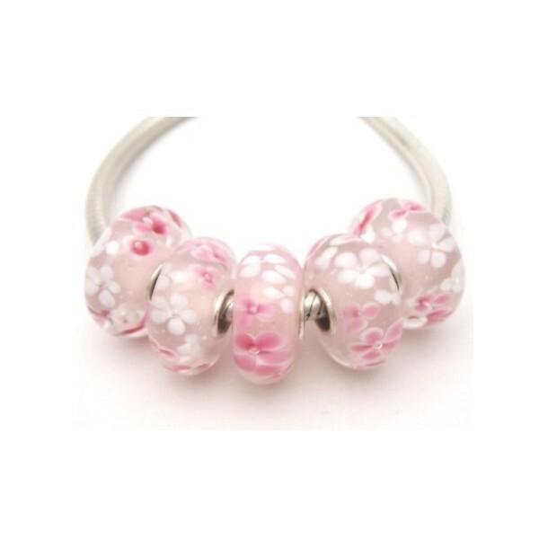 1 perle européenne verre de Murano 8 x 15 mm argent FLEUR ROSE ET BLANCHE - Photo n°1