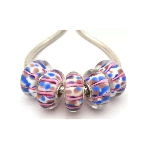 1 perle européenne verre de Murano 8 x 15 mm argent CHAMARE ROSE BLEU BLANC - Photo n°1