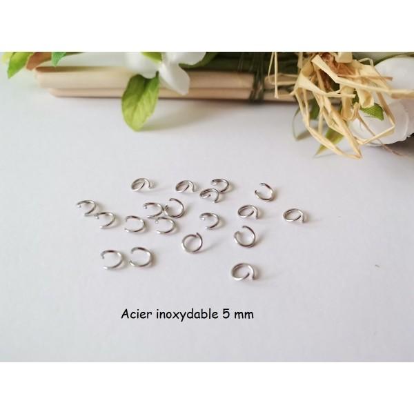 Anneaux acier inoxydable 5 mm argent mat x 50 - Photo n°3