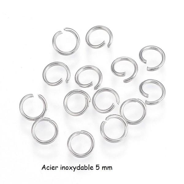 Anneaux acier inoxydable 5 mm argent mat x 50 - Photo n°1