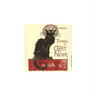 Lot de 2 Serviettes en papier motif Tournée du chat noir