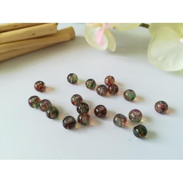 Perles en verre imitation Opalite 6 mm rouge et vert x 25 - Photo n°1