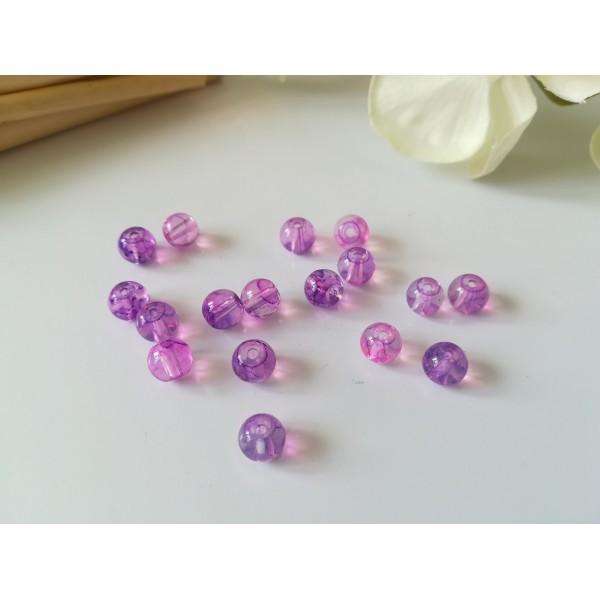 Perles en verre imitation Opalite 6 mm violet et rose x 25 - Photo n°1