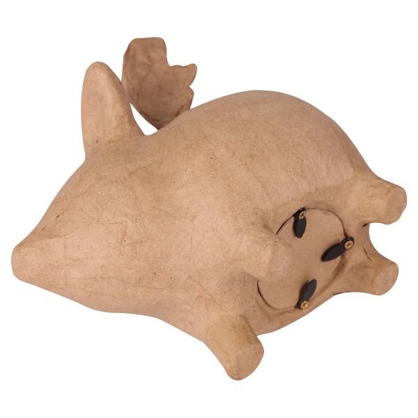 Tirelire cochon volant en papier mâché - 17 x 14 x 10 cm - Photo n°2