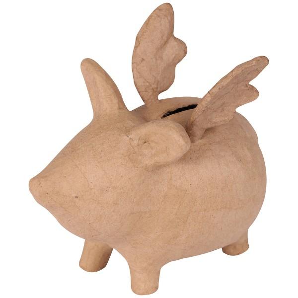Tirelire cochon volant en papier mâché - 17 x 14 x 10 cm - Photo n°1