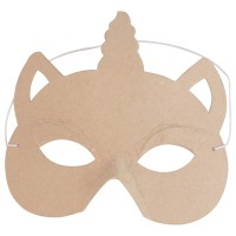 Masque enfant en papier mâché - Licorne - 16 x 15 cm