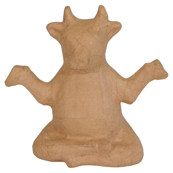 Vache Yoga en papier mâché - 16 x 15 x 9 cm - Photo n°1