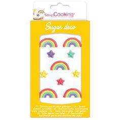 Décoration en sucre - Arc-en-ciel - 10 pcs