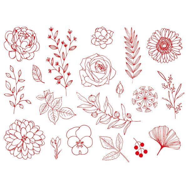 Kit tampons Stampo Textile - Fleurs et feuilles - 18 pcs - Photo n°2