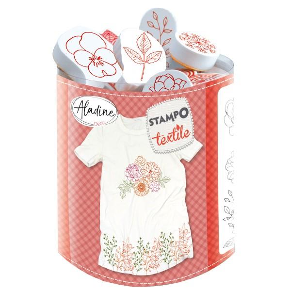 Kit tampons Stampo Textile - Fleurs et feuilles - 18 pcs - Photo n°1