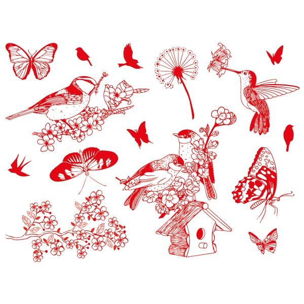 Kit tampons Stampo Textile - Oiseaux et Papillons - 15 pcs - Photo n°2