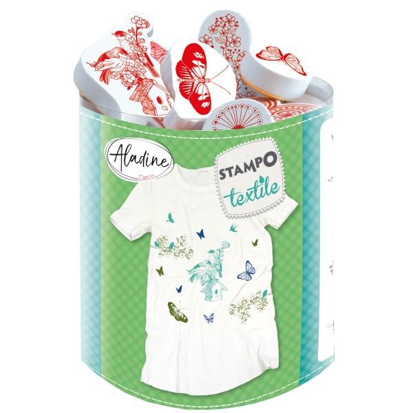 Kit tampons Stampo Textile - Oiseaux et Papillons - 15 pcs - Photo n°1