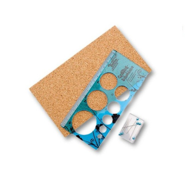Set Gabarit de Quilling, pour cercle de 5 à 40 mm, 1 planche en liège, 6 aiguilles - Photo n°1