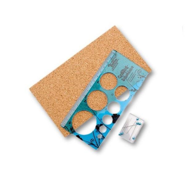 Set Gabarit de Quilling, pr cercle de 5 à 40 mm, 1 planche en liège, 6 aiguilles - Photo n°1